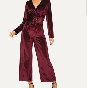 Pants - Velvet jumpsuit for women